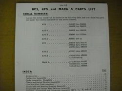 PARTS MANUAL - KF3, KF5, MARK 5