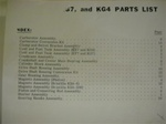PARTS MANUAL - KE7, KF7, KG7, KG4