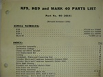 PARTS MANUAL - KF9, KG9, MARK 40